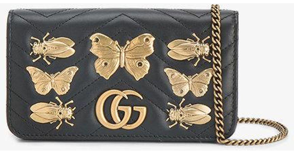 9f26b1b344473e Gucci Gg Marmont Animal Studs Mini Bag in Black - Lyst