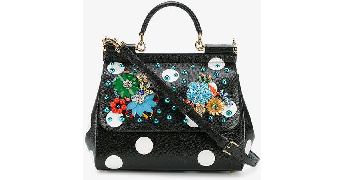 60d097cee304 Lyst - Dolce   Gabbana Embellished Polka-dot Sicily Bag in Black