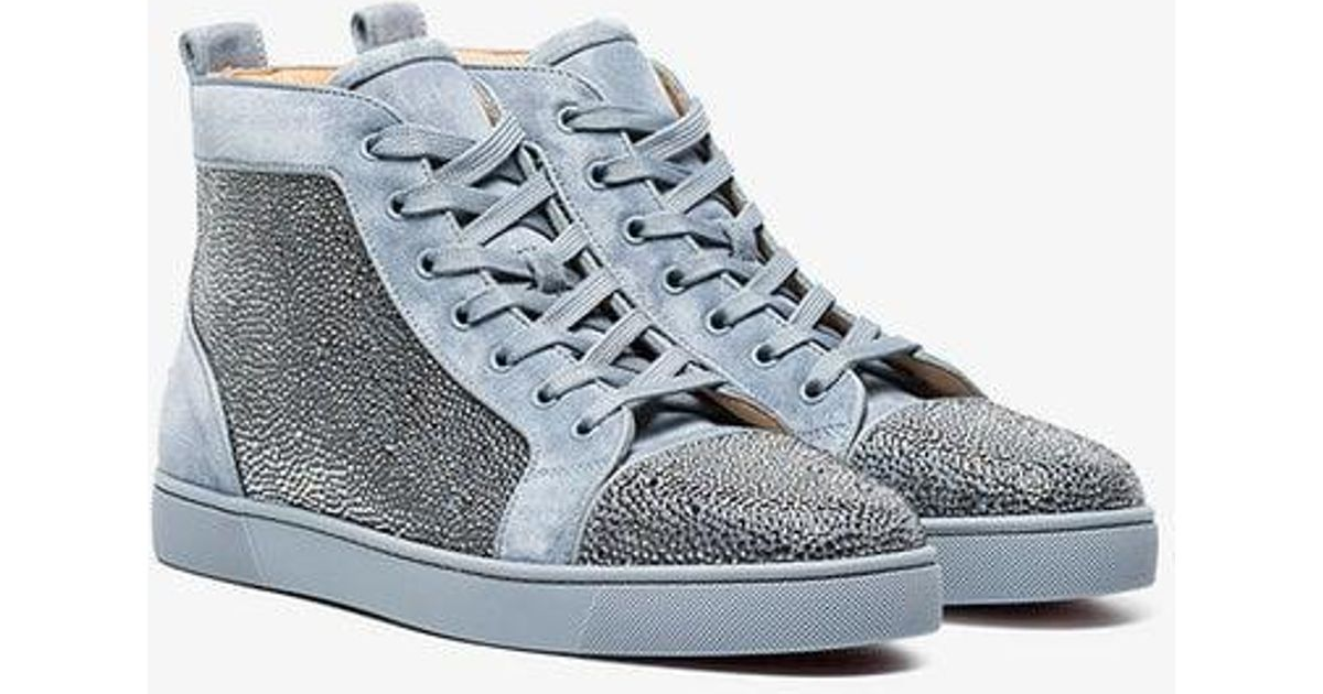 Lyst - Christian Louboutin Grey Orlato Rhinestone Suede High-top Sneakers  in Gray for Men 0ebb8c3359e2