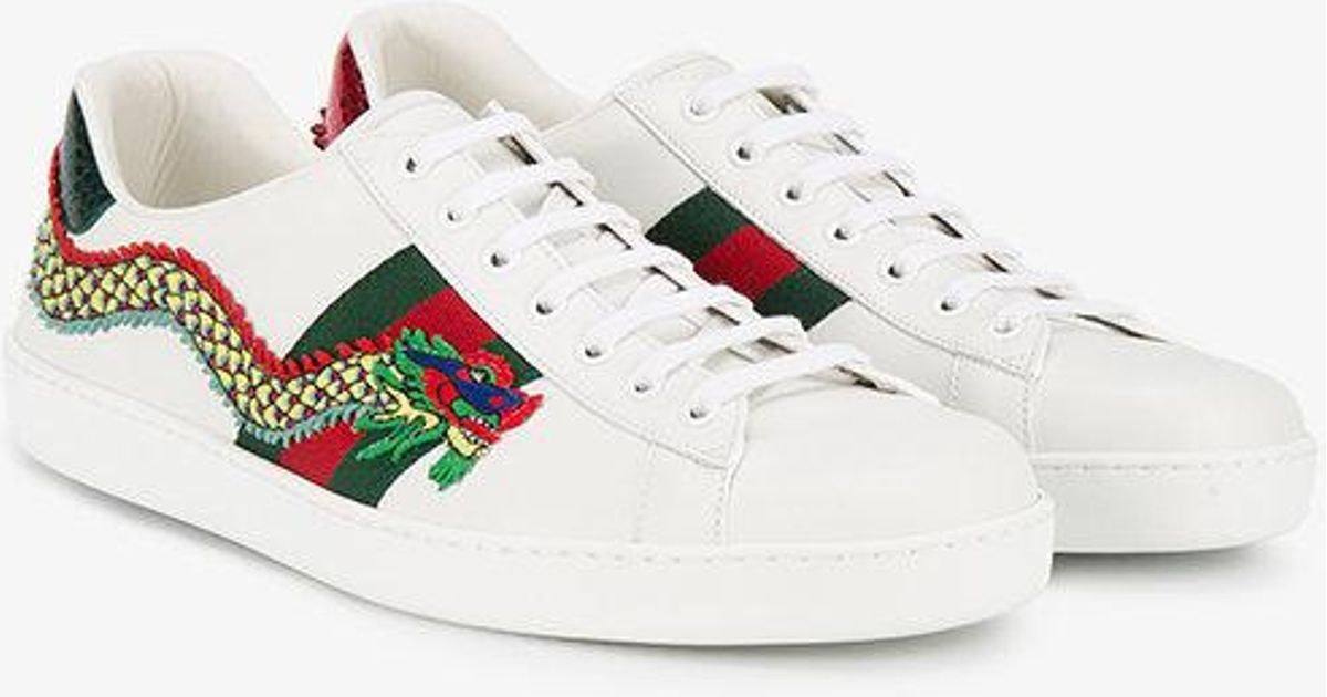 7507d12fc11 Gucci Dragon Embroidered Ace Sneakers in White for Men - Lyst