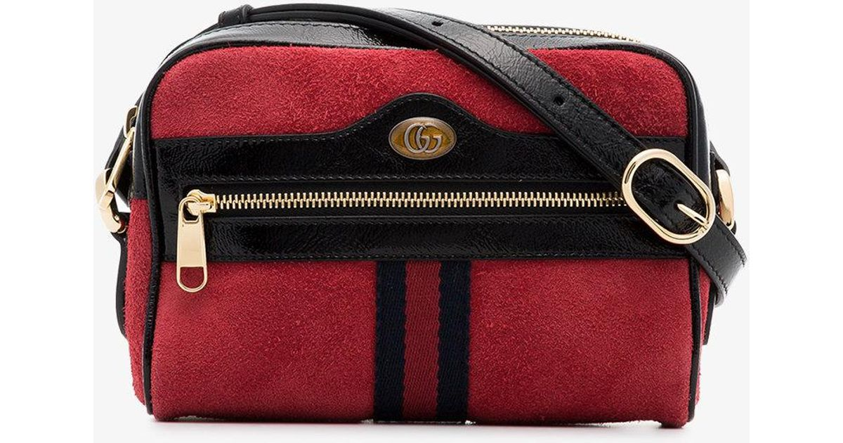 12e5ee27c5d951 Gucci Red Ophidia Suede Camera Bag in Red - Lyst