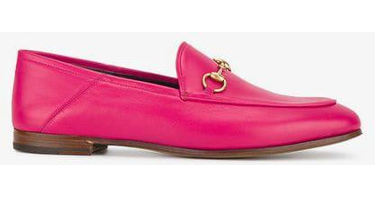 a37b9a2e4b4 Lyst - Gucci Fuchsia Pink Brixton Leather Loafers in Pink