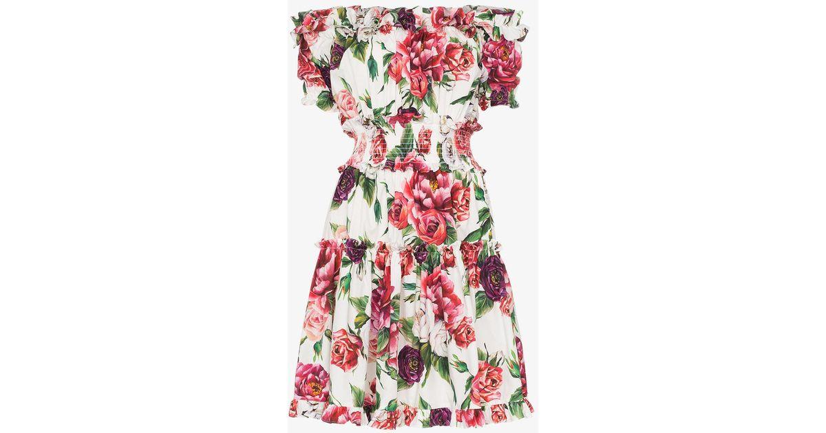 5b0ad72ccb591 Lyst - Dolce   Gabbana Off-shoulder Frill Peony Print Cotton Mini Dress in  Pink
