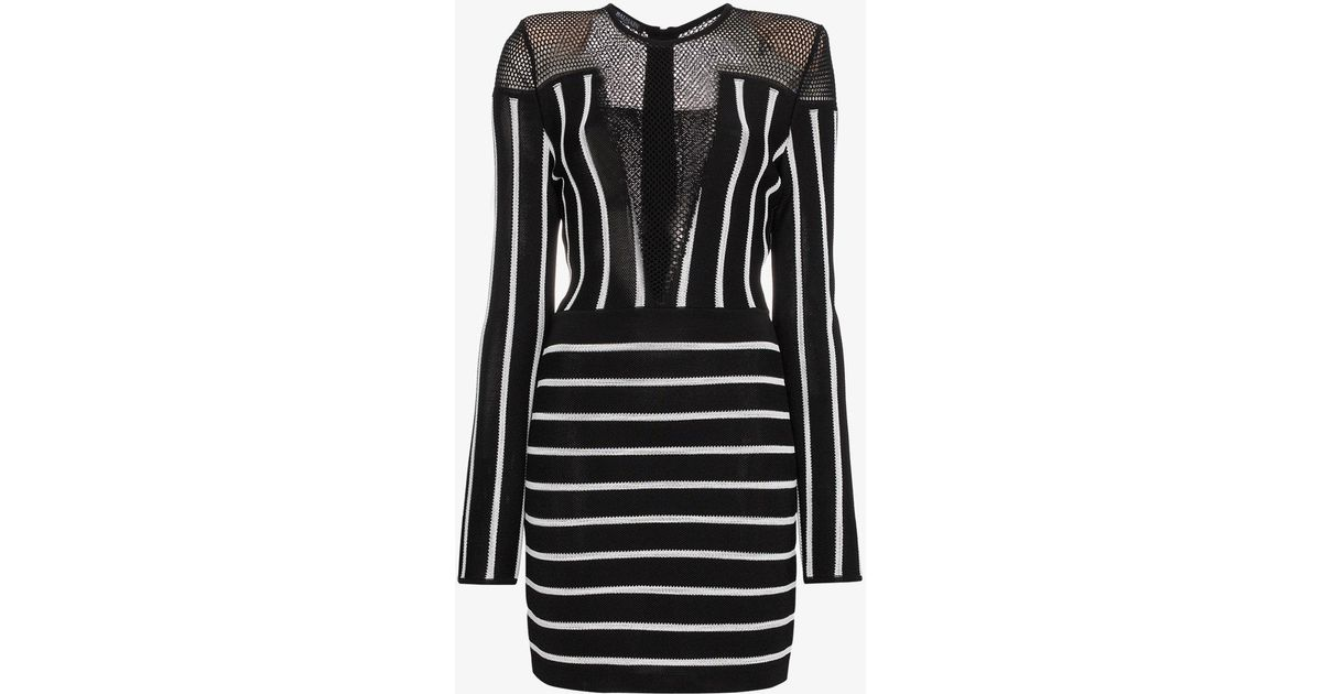 b03ef4a99f9 Lyst - Balmain Long-sleeve Striped Short Cocktail Dress With Mesh Inset in  Black - Save 59%