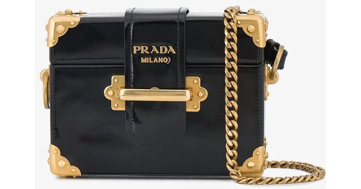 d156c6fb15d9 Prada Cahier Micro Box Bag in Black - Lyst