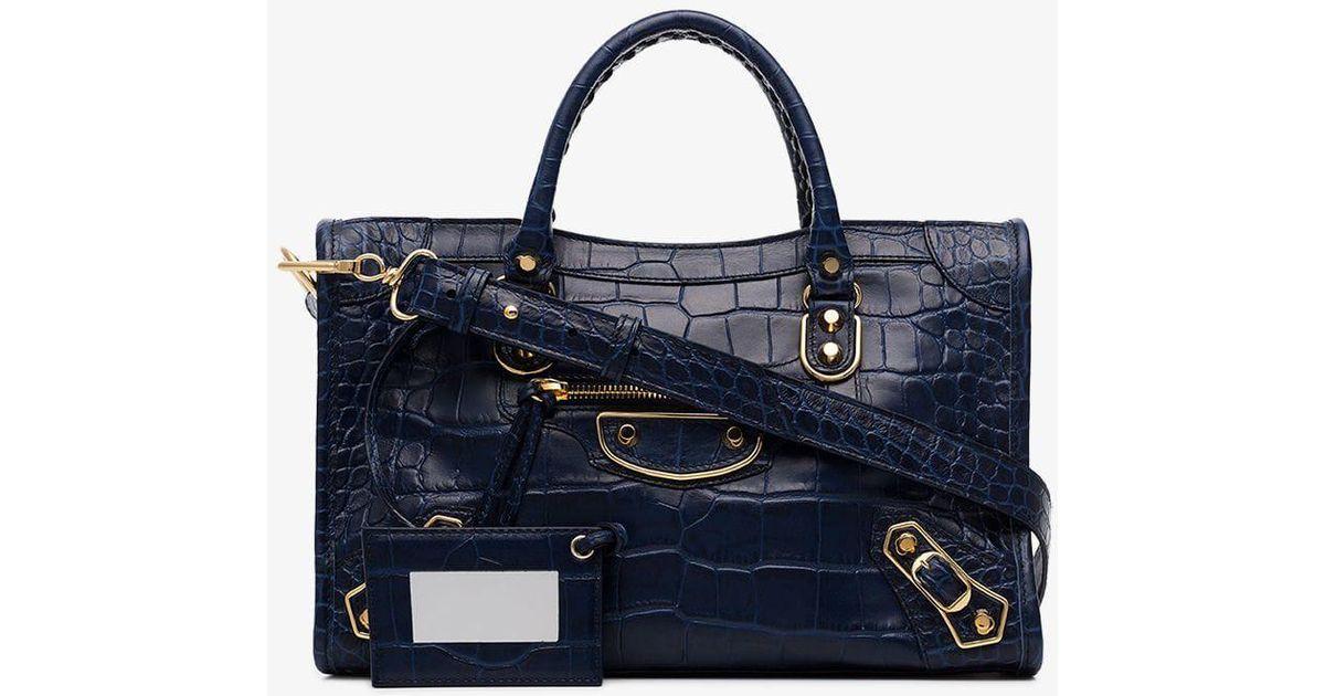 6c91fa6e910 Balenciaga Blue City Croc-embossed Leather Tote Bag in Blue - Lyst