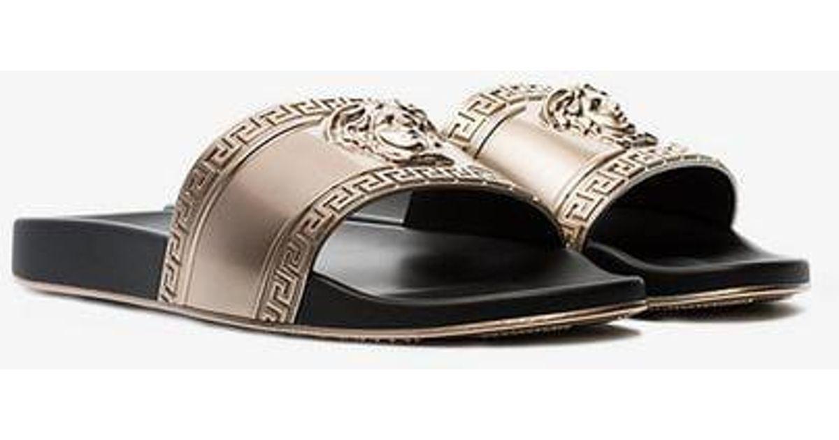 ec09d3b7e36d Versace Gold-tone Medusa Embossed Slides in Metallic for Men - Lyst
