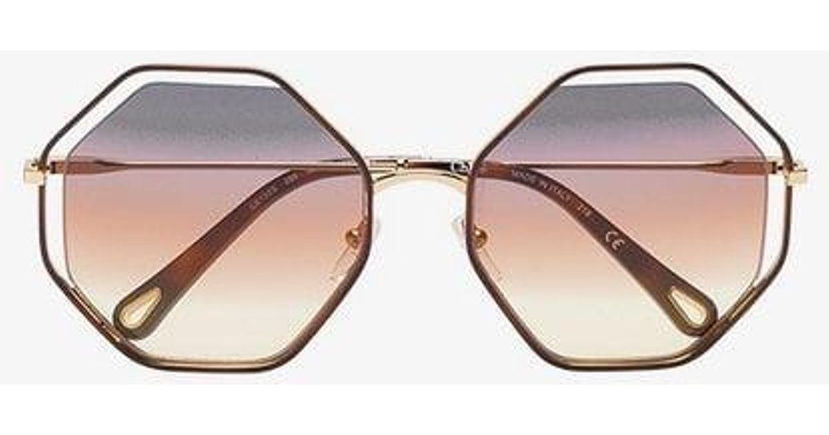 75bb36b7c73 Chloé Brown And Purple Poppy Hexagon Sunglasses in Brown - Lyst