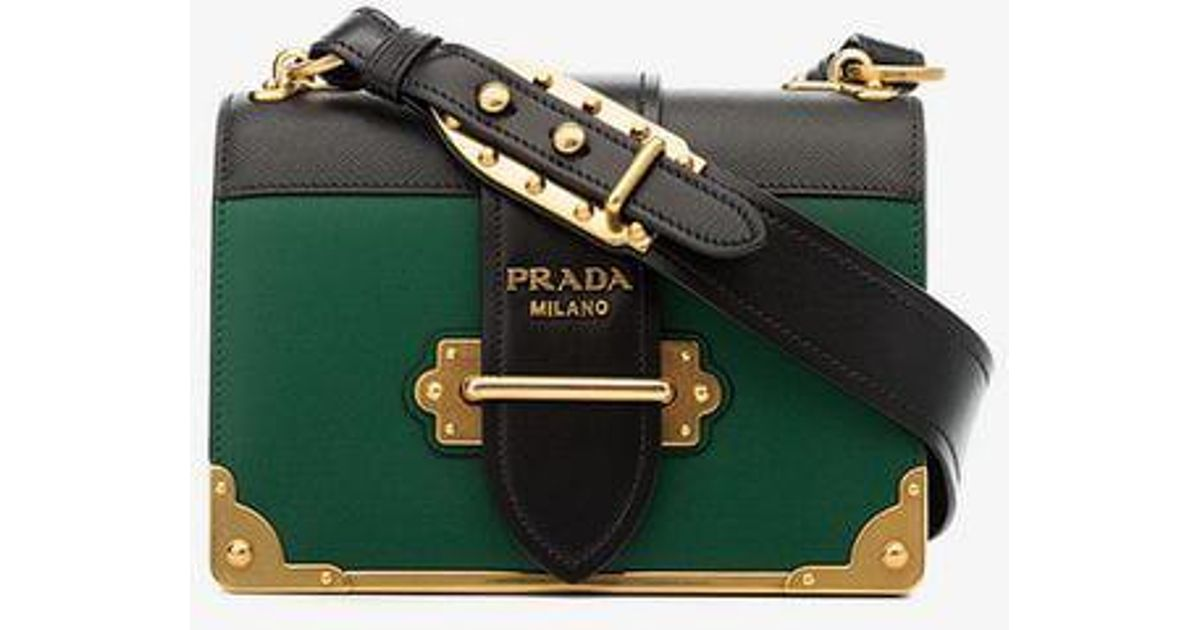 ed2459f26f2d Prada Green And Black Cahier Cross Body Leather Bag in Green - Lyst