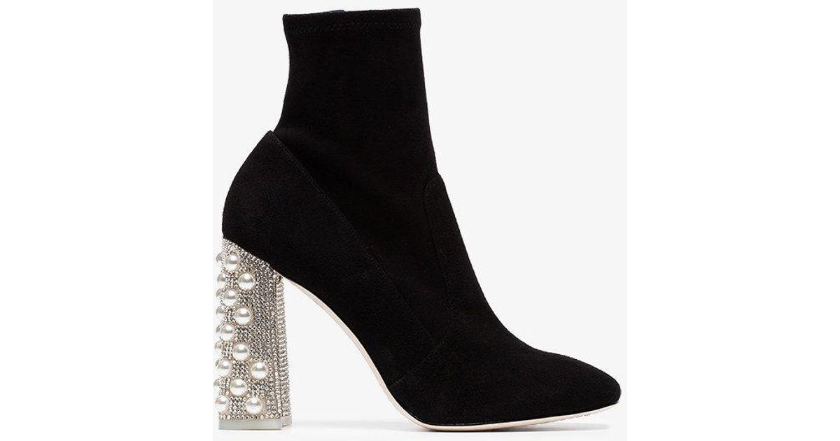 Black Felicity crystal heel 100 suede boots Sophia Webster 9NT1G