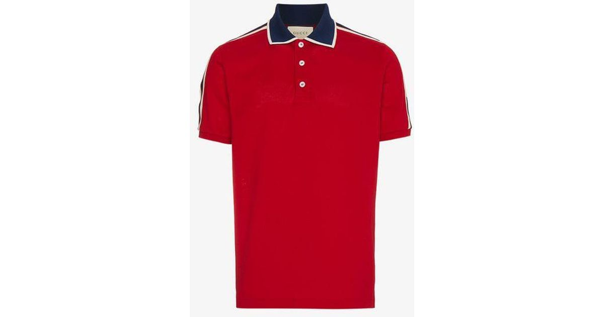 489b8417f Gucci Red Stripe Polo Shirt in Red for Men - Lyst