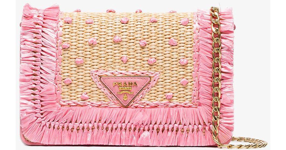 dd174c2f296b Lyst - Prada Beige And Pink Raffia Clutch in Natural