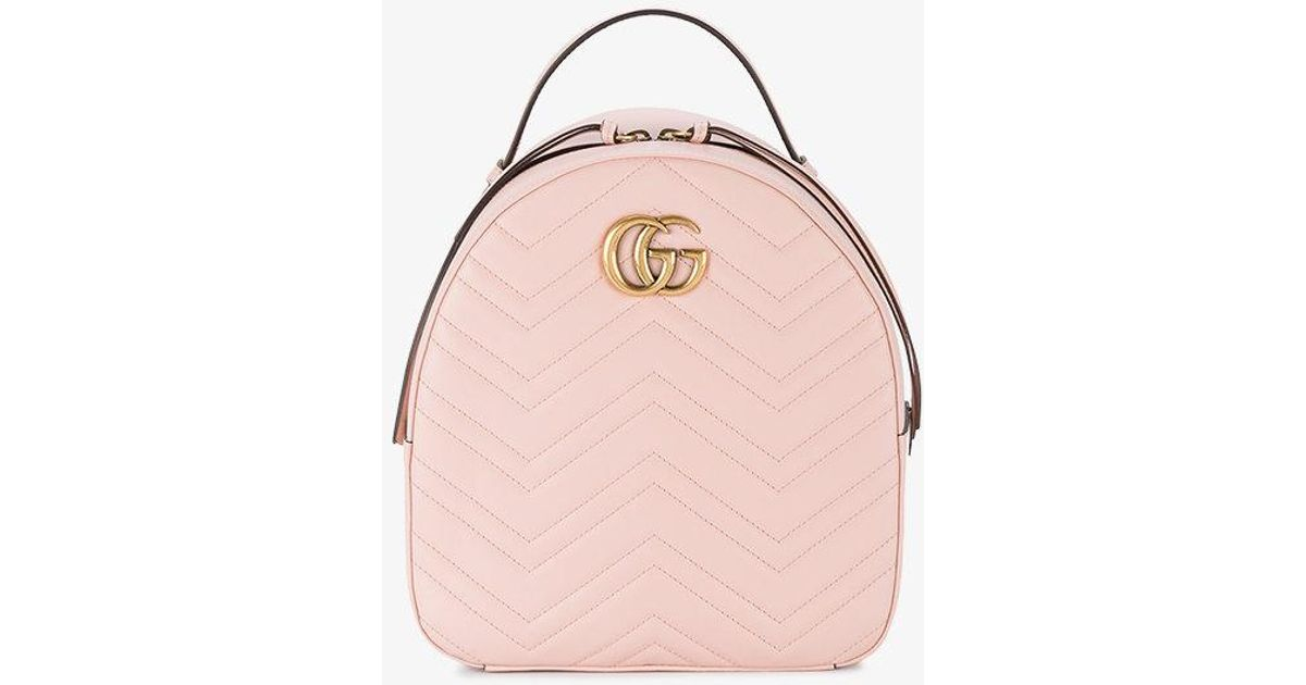 56017da72e531b Gucci Marmont Quilted Leather Backpack in Pink - Save 38% - Lyst