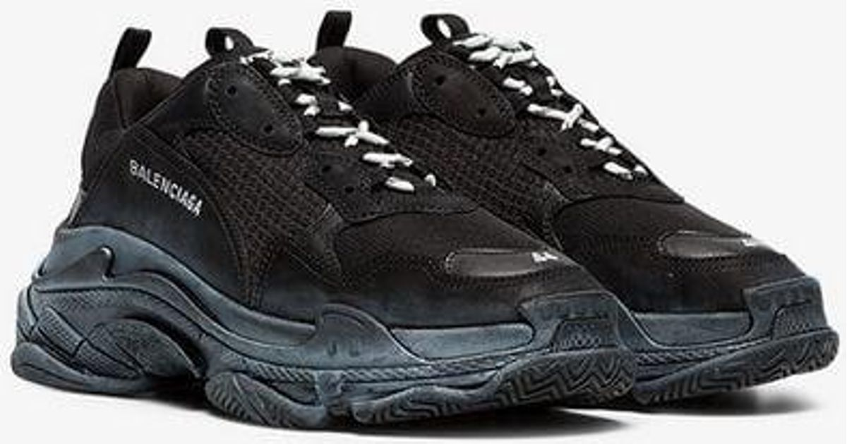 a0315a414621 Balenciaga Black Triple S Distressed Leather Sneakers in Black for Men -  Lyst
