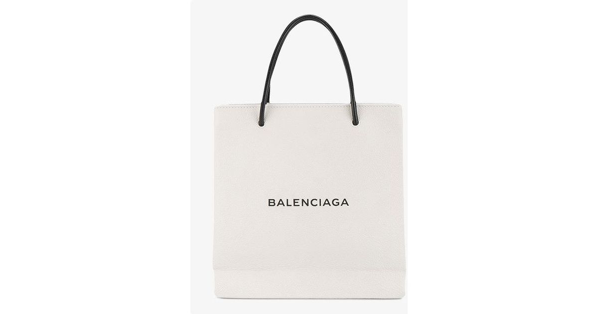 Lyst - Balenciaga Small White Shopping Tote Bag in Gray 55eb8ccc13dc7