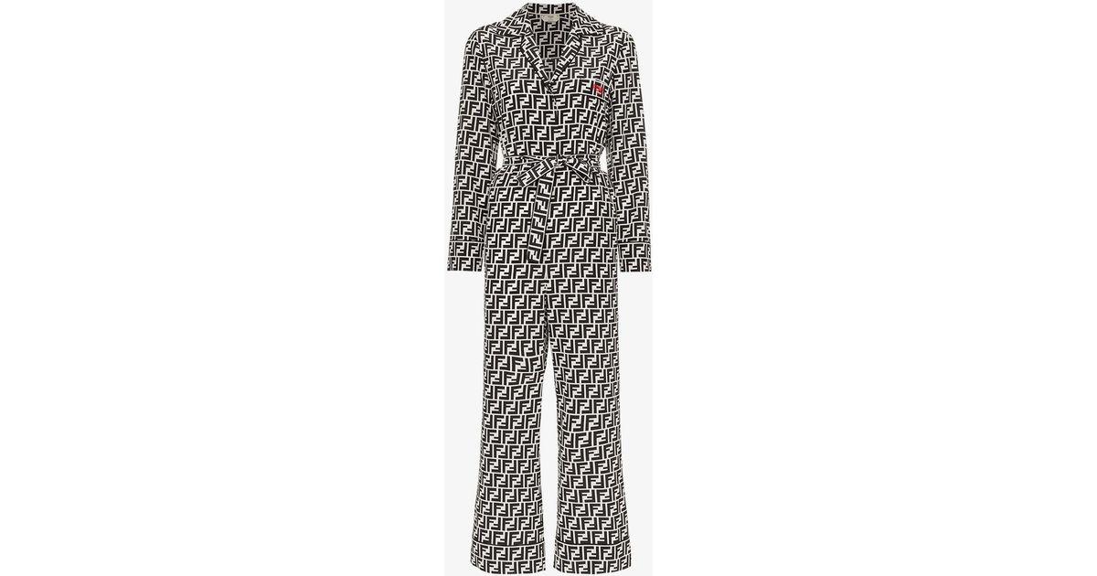 0e6d613ad942 Lyst - Fendi Ff Logo Belted Silk Jumpsuit in Black