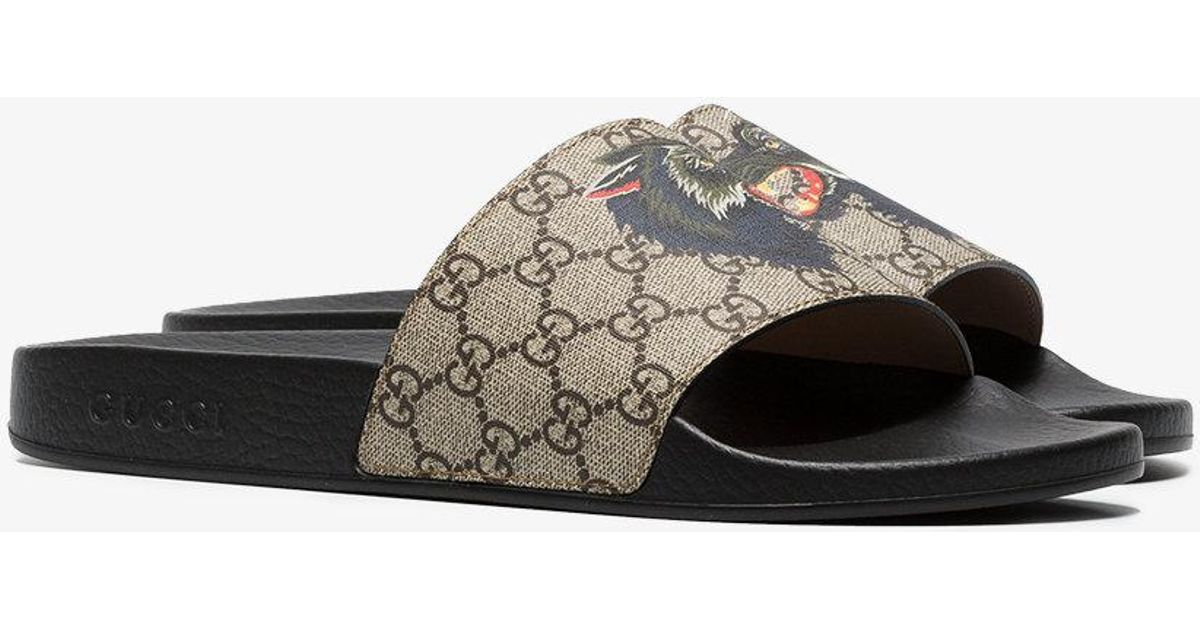 f3f342de7b9 Gucci Gg Supreme Slides With Wolf in Natural for Men - Lyst