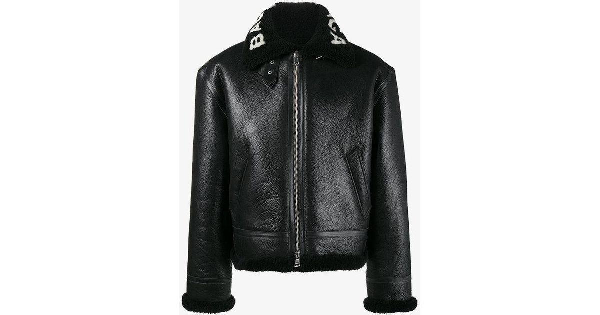 6934d42f0219e Lyst - Balenciaga Bombardier Shearling Leather Jacket in Black for Men