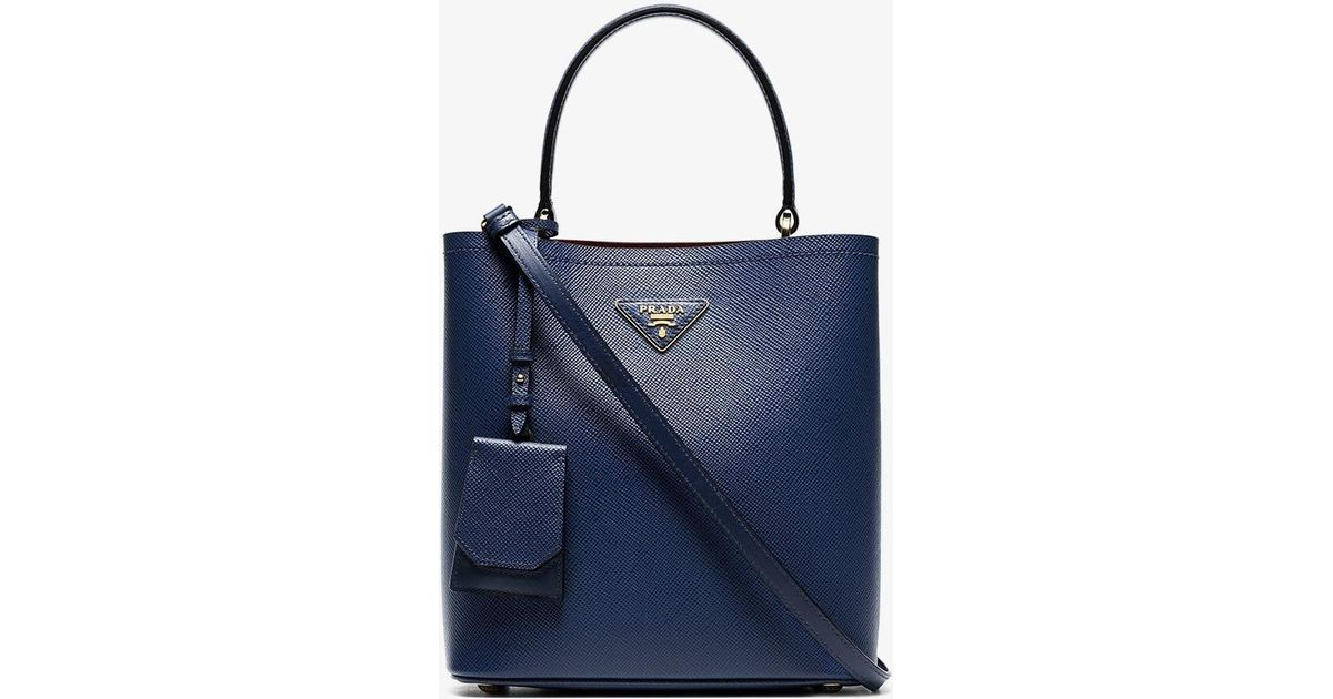 26e05b58075d Prada Blue Saffiano Leather Double Bucket Bag in Blue - Lyst