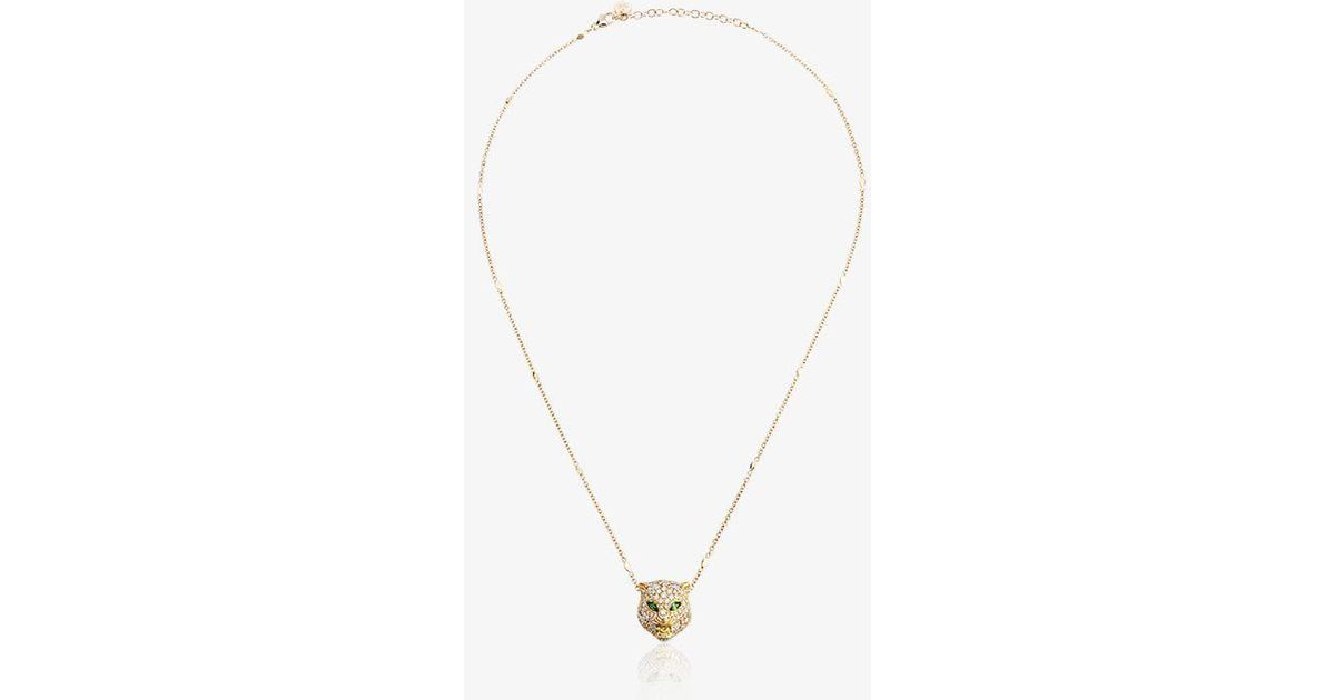 c43672a22 Gucci 18kt Gold Cat Le Marché Des Merveilles Necklace in Metallic - Lyst