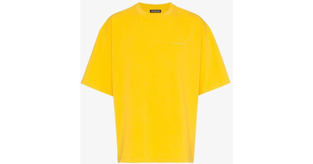 7b9d8587bbd7 Balenciaga Yellow Ego Print Cotton Short Sleeve T Shirt in Yellow for Men -  Lyst