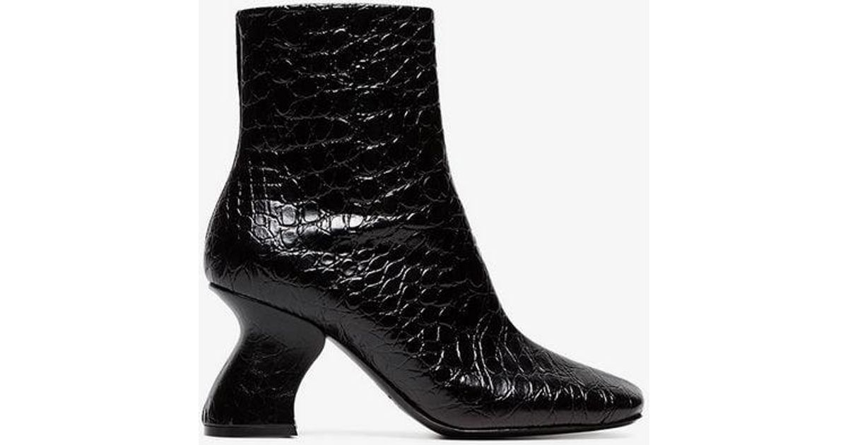 22fa3738a3aa07 Dries Van Noten Black Snakeskin Embossed 80 Leather Ankle Boots in Black -  Lyst