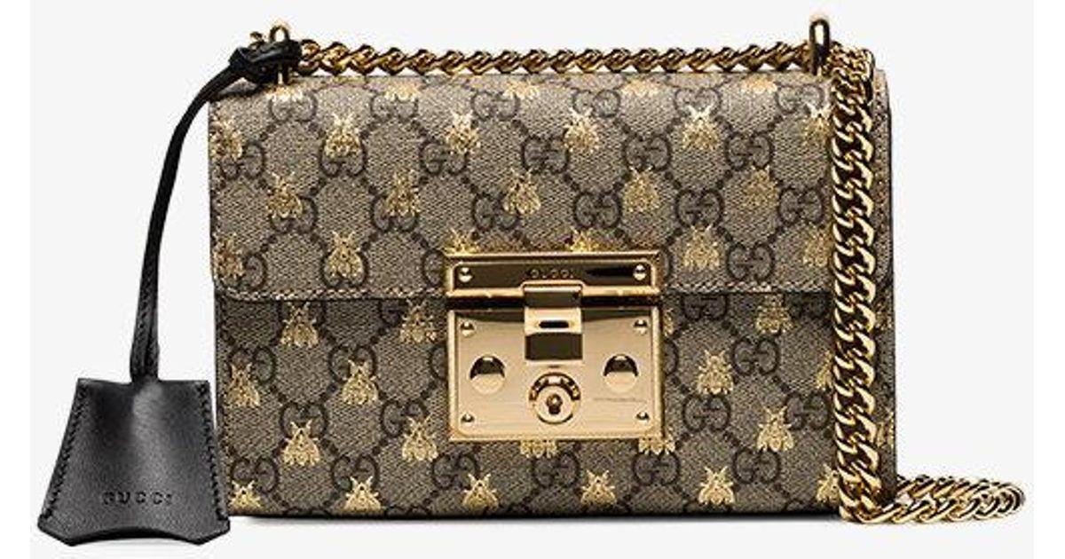 869e4b74b2e Lyst - Gucci Padlock Small Gg Bees Shoulder Bag