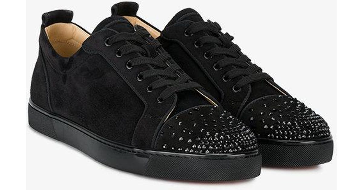 8a0fe6d09f3d Lyst - Christian Louboutin Black Leather Louis Junior Spike Sneakers in  Black for Men