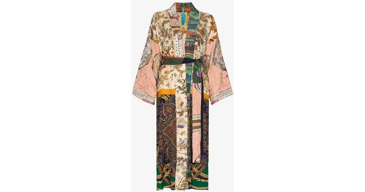 1f8479fea4 Lyst - Rianna + Nina Long Multi Floral Print Silk Kimono Robe in Blue