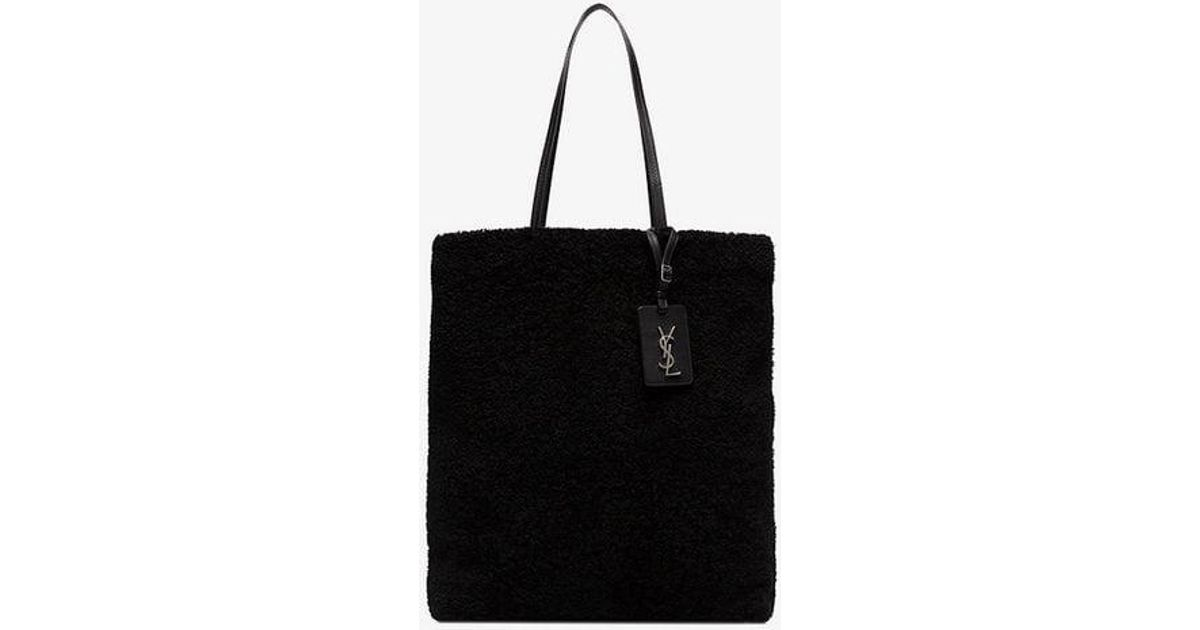 ca9d21449f7d Saint Laurent Shearling Tote Bag in Black - Lyst