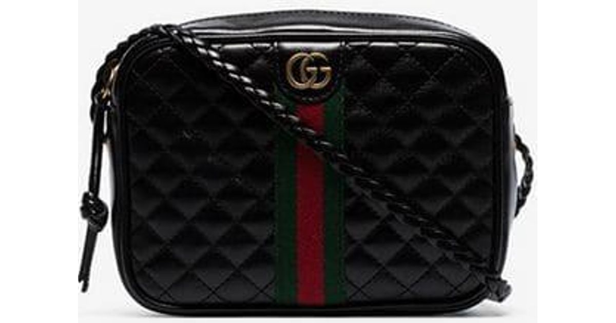 b5ff77b527d Gucci Black Quilted-leather Small Shoulder Bag in Black - Lyst