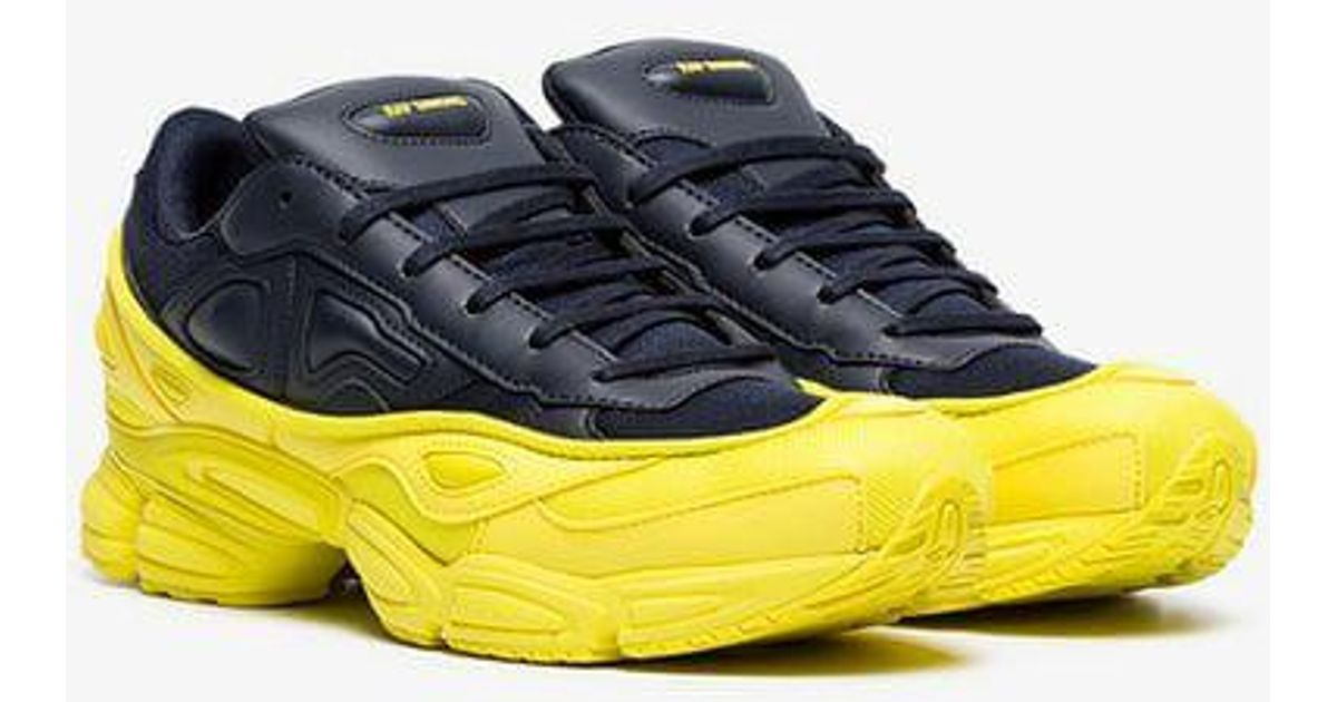 save off 87ca4 f47b8 adidas By Raf Simons Yellow And Navy Ozweego Leather Sneakers in Black for  Men - Lyst