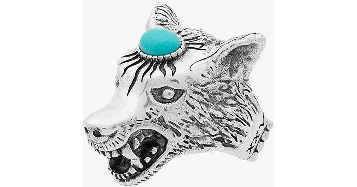 2d89edb79ef5 Gucci Metallic Anger Forest Sterling Silver Wolf Head Ring in Gray for Men  - Lyst