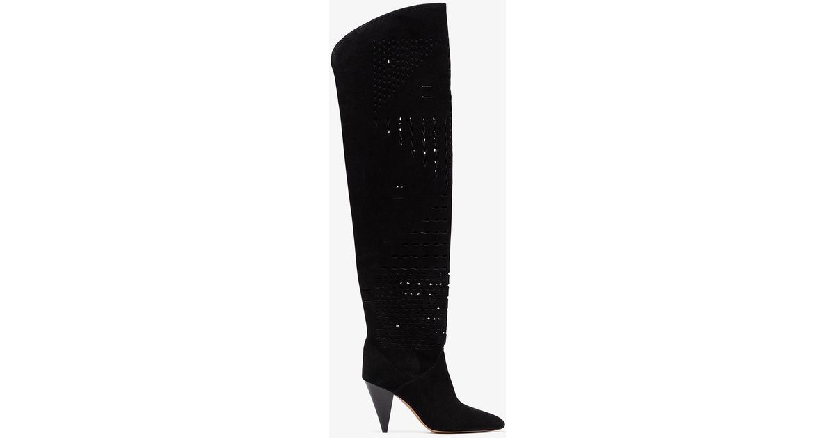 1ae917c0139 Lyst - Isabel Marant Black Lurrey 90 Perforated Suede Over The Knee Boots  in Black