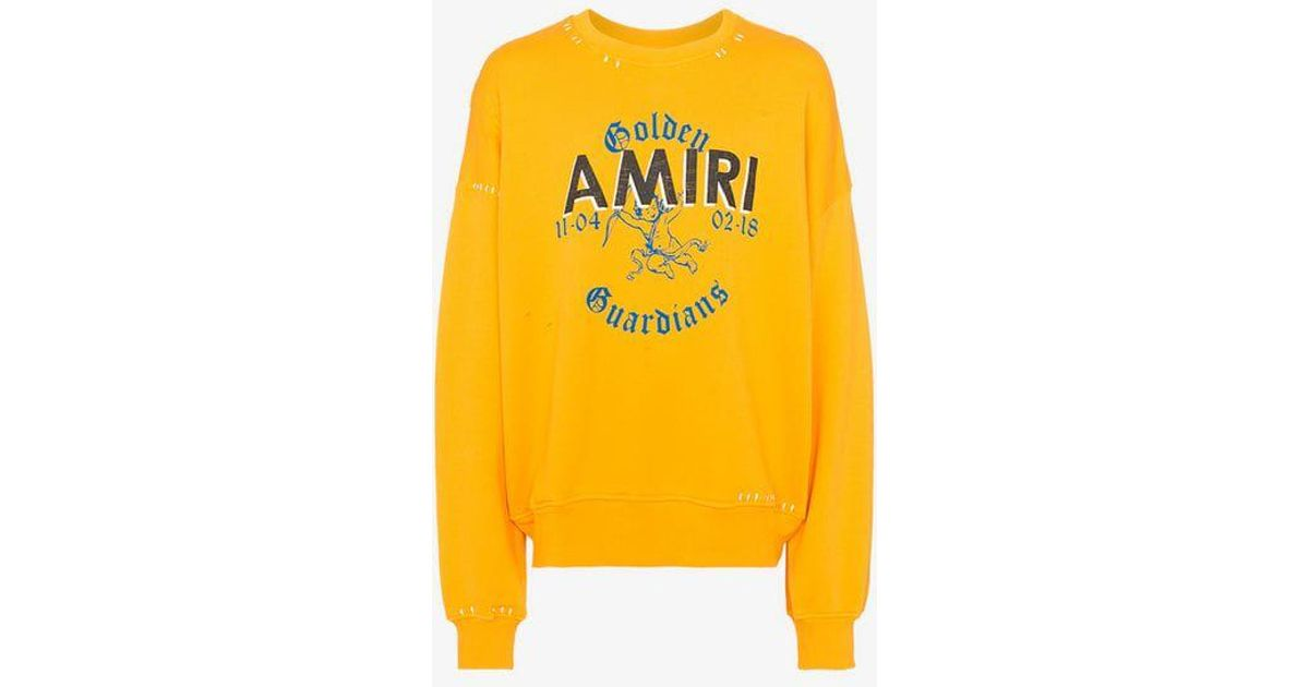 Jumper Stitch Lyst Amiri Print Men Yellow Detail For Logo In wCx6qtrCX