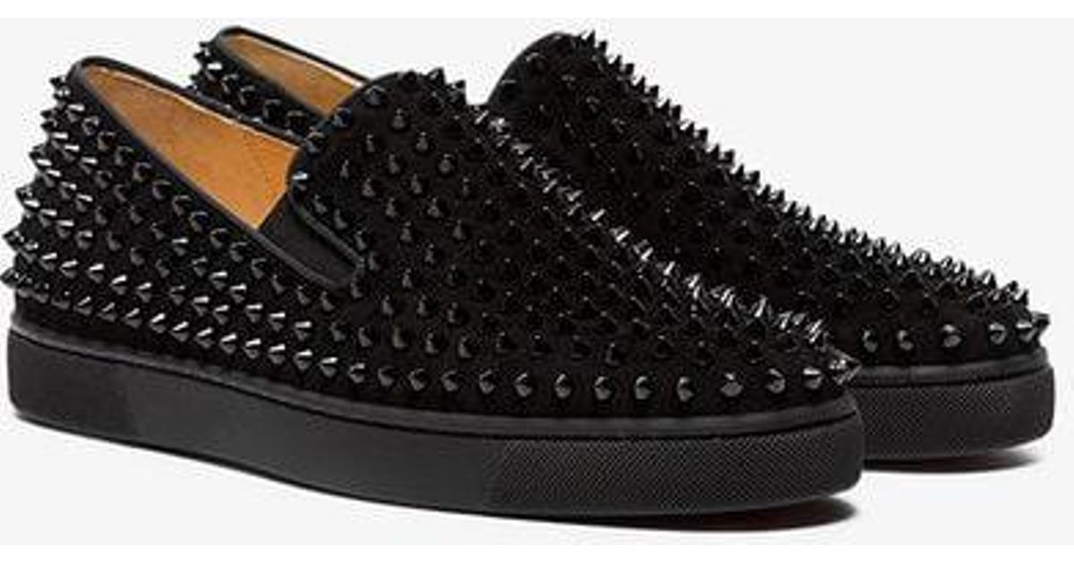 new concept 70e38 4e2c9 Christian Louboutin - Black Roller Boat Spike Leather Sneakers for Men -  Lyst