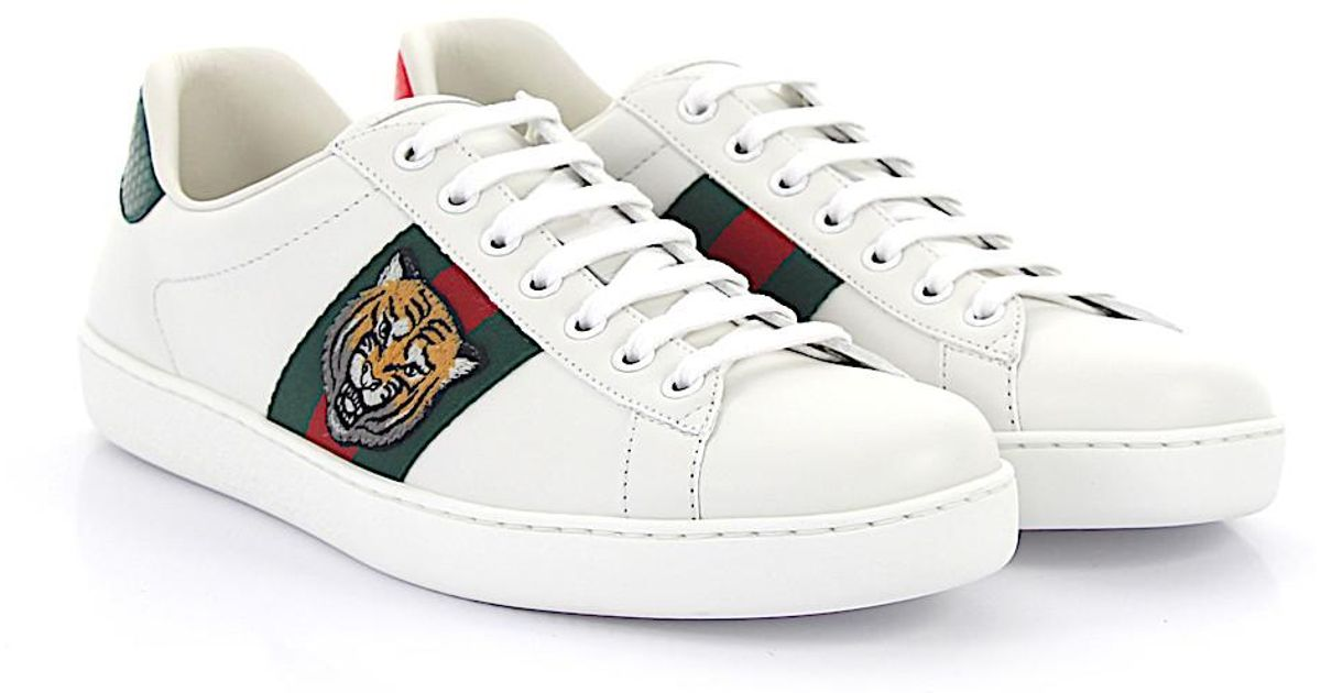 afd84c98b26 Gucci Ace Sneakers A38g0 Leather White Tiger Embroidery Details in White -  Lyst