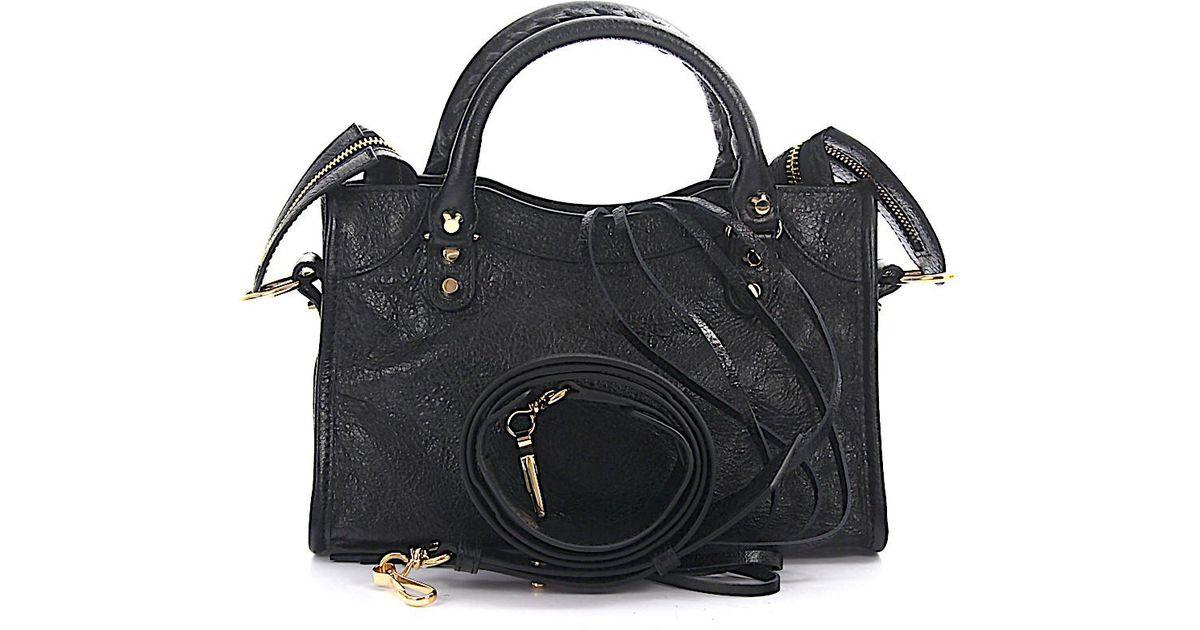 c068f0afda6b Lyst - Balenciaga Handbag Mini City Gold Strap Leather Black Crinkled Gold  Rivets in Metallic