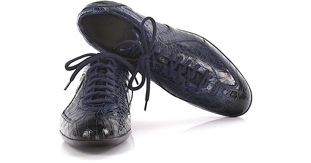 Sneakers 11867 crocodile leather green Santoni dYQpWMnO