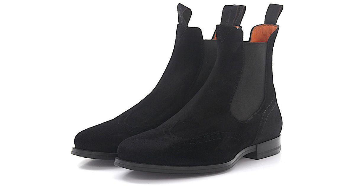 lyst santoni chelsea boots suede black in black for men. Black Bedroom Furniture Sets. Home Design Ideas