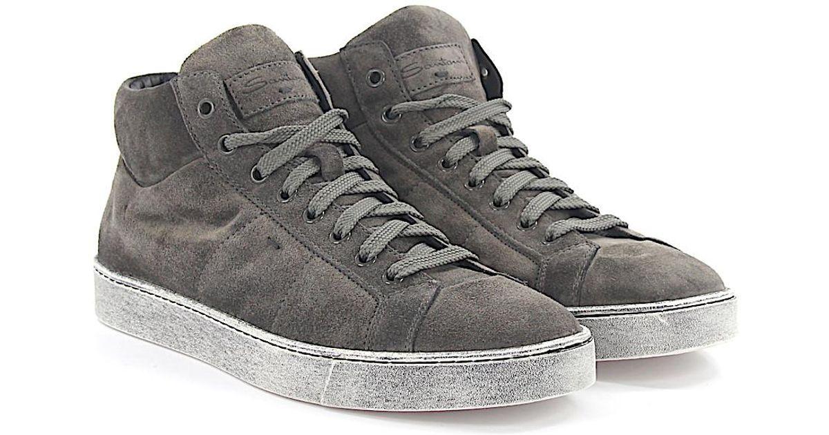 Sneakers Mid High 20532 suede brown Santoni tKX8C9