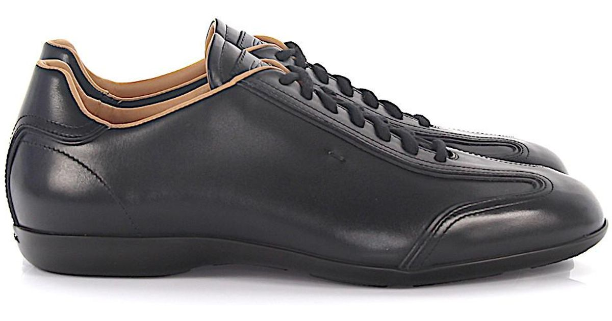 4692681452 Santoni Sneaker Amg 13831 Leather Black in Black for Men - Lyst