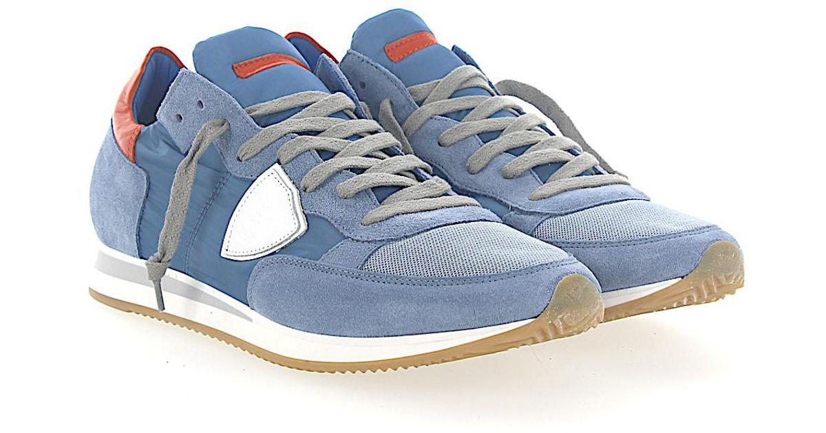 Philippe model Sneakers TROPEZ suede nylon mesh leather orange 4FGtwF