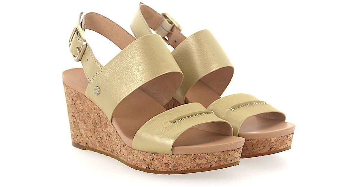 UGG Wedge Sandals ELENA METALLIC calfskin Stitching ditIBG2