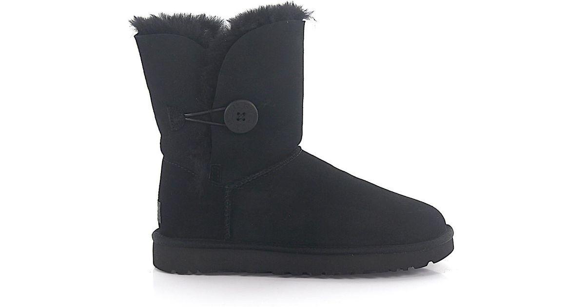 6c510b92267 Ugg - Ankle Boots Lamb Fur Suede Logo Black - Lyst