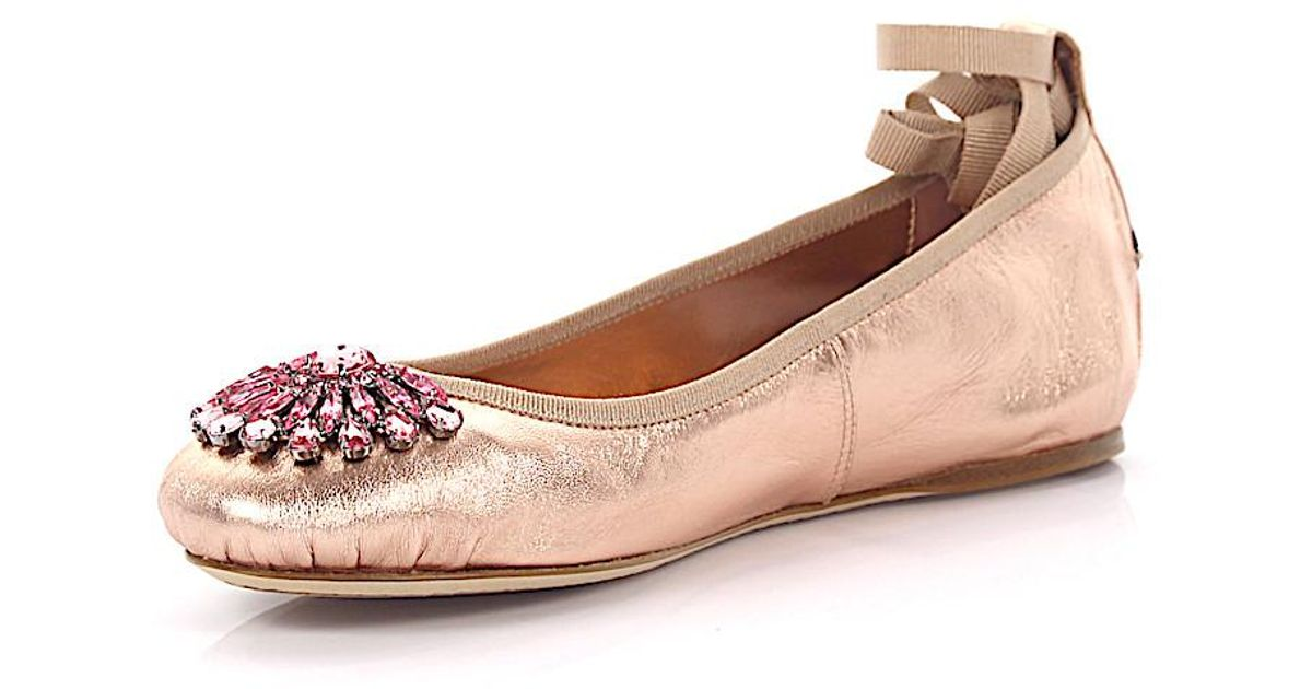 Jimmy choo Ballerinas Grace flat nappa leather metallic rose eFZRla2XqJ
