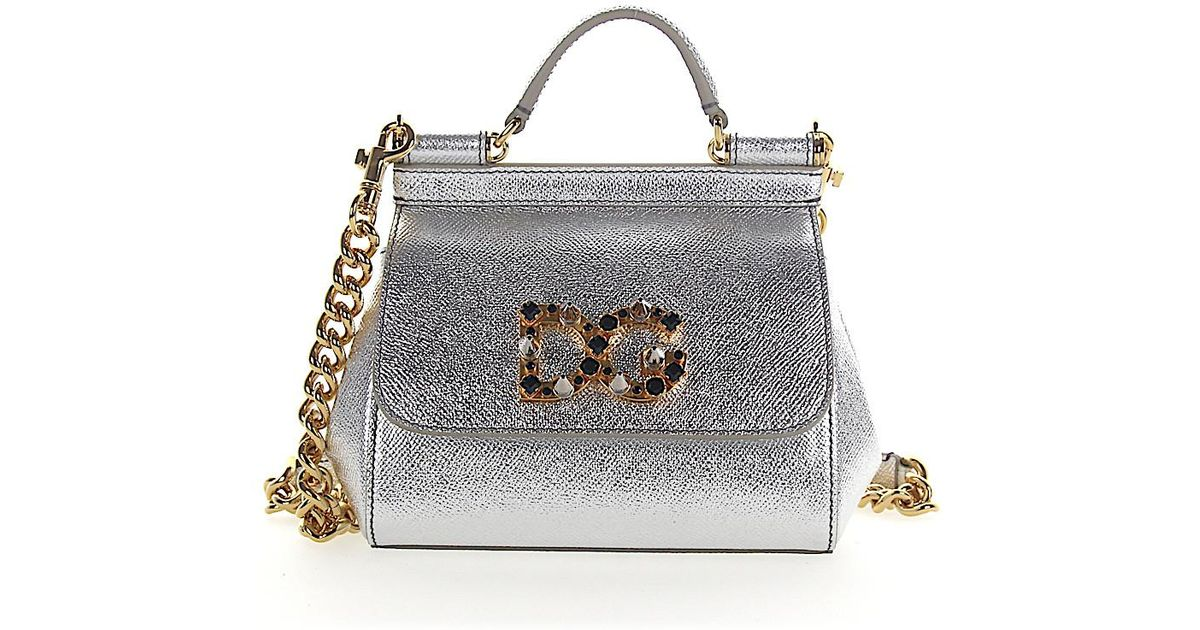 2a205f9303c1 Lyst Dolce Gabbana Handbag Shoulder Bag Mini Sicily Leather. Rafe Joey Metallic  Leather Tote Bag Silver Screen