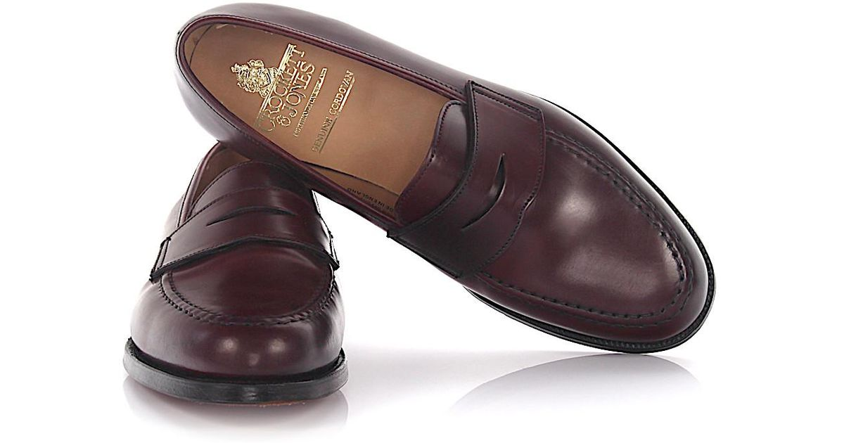41cd7f11ec5 Lyst - Crockett and Jones Penny Loafer Slipper Boston Leather Cordovan  Bordeaux Goodyear Welted for Men