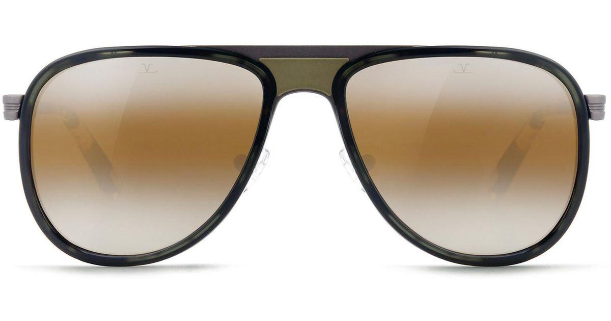 Sunglasses Aviator GLACIER steel matte grey acetate brown Vuarnet 7ryG7nMpE