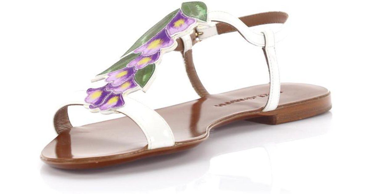 Lyst dolce gabbana sandals strappy patent leather white flower lyst dolce gabbana sandals strappy patent leather white flower design in white mightylinksfo